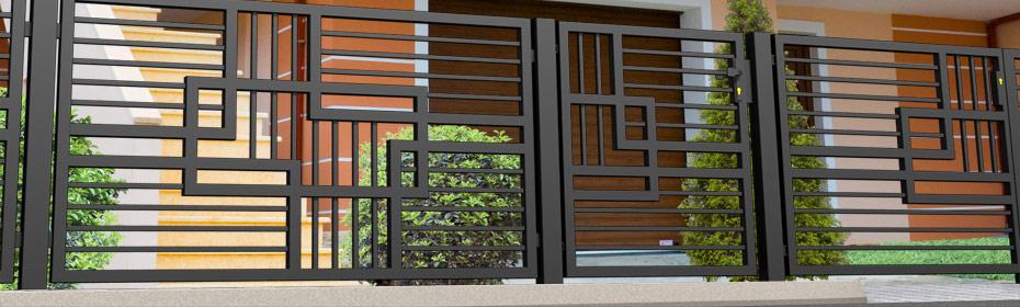 gel nder metallzaun hersteller torsysteme moderne z une. Black Bedroom Furniture Sets. Home Design Ideas
